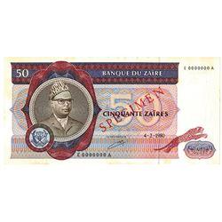Banque du Zaire. 1980. Specimen Note.