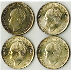 Kingdom of Netherlands - Curacao, 1944 D, 2 1/2 Gulden, Silver, KM#46 Lot of 4 Uncirculated Coins.