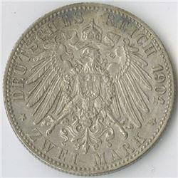 Germany, Bremen, 1904J, Zwei Mark, KM#250, Choice VF-XF, Cleaned, Spots