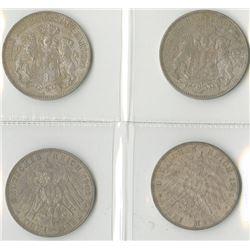 Germany, Hamburg, 1909J; 1911J; 1913J; and, 1914J, 3 Mark Quartet, Silver, KM#620, Choice VF to Choi