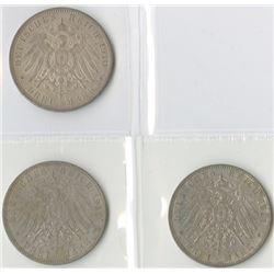 Germany, Hamburg, 1910J; 1912J; and, 1914J, 3 Mark Trio, Silver, KM#620, Choice VF to AU.
