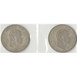 Germany, Prussia, 1870A & 1871A, 1 Thaler Coin Pair, KM#494, Choice VF to XF.