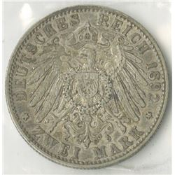 Germany, Prussia, 1892A, Zwei Mark, KM#522, Choice VF, Cleaned