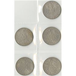 Germany, Prussia, 1908A; 1909A; 1910A; 1911A; and, 1912A, 3 Mark Quintet, Silver, KM#527, Choice VF