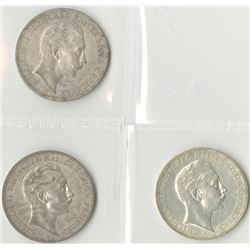 Germany, Prussia, 1908A; 1910A; and, 1912A, 3 Mark Trio, Silver, KM#527, Choice VF to Choice XF.