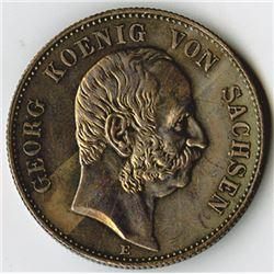 Germany, Saxony-Albertine, 1904E, 2 Mark, Silver, KM#1261, XF to AU.