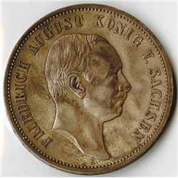 Germany, Saxony-Albertine, 1910E, 3 Mark, Silver, KM#1267, XF to Choice XF