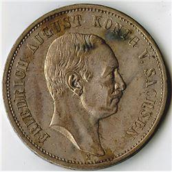 Germany, Saxony-Albertine, 1911E, 3 Mark, Silver, KM#1267, XF