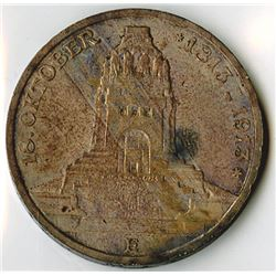 Germany, Saxony-Albertine, 1913E, 3 Mark, Silver, KM#1275, XF to Choice XF
