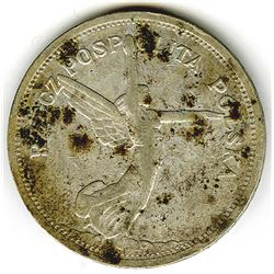 Republic of Poland, 1928, 5 Zlotych, Silver, Y#18, Fine to VF with Spotting.