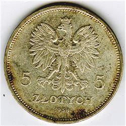 Republic of Poland, 1930 (w), 5 Zlotych, Silver, Y#19.1, VF with Spots