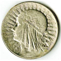 Republic of Poland, 1934 (w), 5 Zlotych, Silver, Y#21, VF-XF Condition.