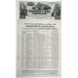 Egerton & Bro. 1850s Lottery Advertising Note & Lottery Brochure Pair