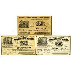 Mount Pleasant Apothecary Store, 1863 Obsolete Scrip Note Trio.