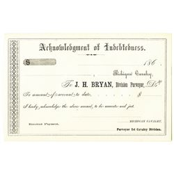 Michigan Cavalry 1860s Remainder Certificate of Indebtedness Sutler Fiscal Document.