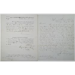 Long Island Bank at Brooklyn, 1843 to 1845, DS&H Banknote Order Form & Correspondence.