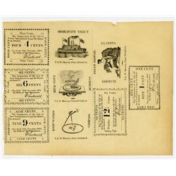 New York City, Corporation of the City of New York. 1814. Sample Sheet of 5 different Obverse & Reve