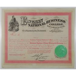 Eastman National Business College, 1860's Acceptance Certificate