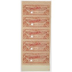 Pittsburgh, Cincinnati, Chicago & St. Louis Railroad Co. Specimen Meal & Lodging Scrip Note Sheet of