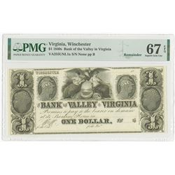 Bank of the Valley in Virginia, ca.1840's, $1 Remainder Obsolete Banknote.