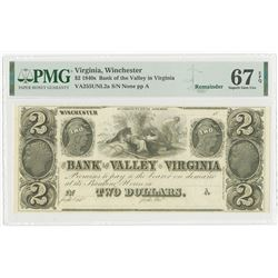 Bank of the Valley in Virginia, ca.1840's, $2 Remainder Obsolete Banknote.