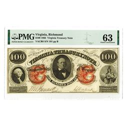 Virginia Treasury Note, 1862 $100 Low Serial Number Obsolete Banknote.