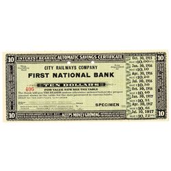 City Railways Company,  First National Bank, 1915 Specimen Circulating Automatic Savings Certificate