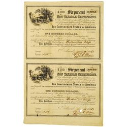 "Confederate States of America, 1865 Uncut $100, 6% ""Non Taxable Certificate"" Pair"