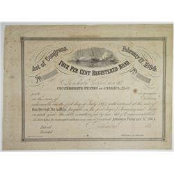 Confederate States of America, 4% Registered Bond 1864 U/U Bond