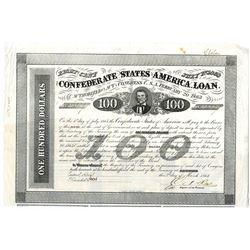 Confederate States of America. 1863 I/U $100 Bond E&C