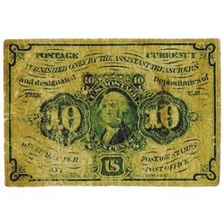 U.S. Fractional Currency. 10 cents, Postage Currency FR#1242 Monogram Imperf