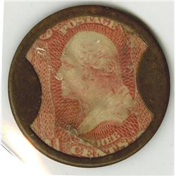 Take Ayers Pills, 3 Cents Encased Postage, ca.1860's, VF condition with toning.