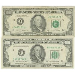 U.S. F.R.N., $100 Replacement Note Series 1950, St. Louis, and $100, 1969, Kansas City Banknote Pair