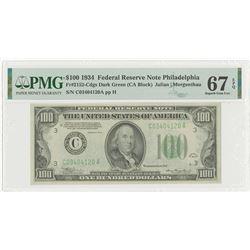 U.S. F.R.N., Philadelphia, $100, Series of 1934, Fr#2152-C, Dark Green Seal.