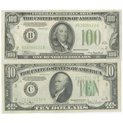 U.S. Federal Reserve Note Series 1934 and 1934 D, Banknote Pair