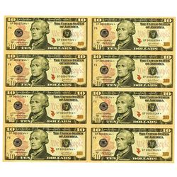 U.S., F.R.N., $10, Series 2004A, Uncut Sheet of 8 Low Serial Number Replacement Notes.