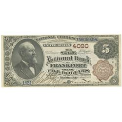Kentucky, State National Bank of Frankfort, $5, 1882 Brown Back, Ch# 4090, Rosecrans | Houston Signa