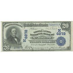 St. Joseph, MO. 1902 DB, $20, Tootle-Lemon National Bank of St. Joseph, Ch# M 6272,