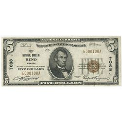 Reno, NV, 1929, $5 Ty. 1, First National Bank in Reno, Ch# 7038, Fr#1800-1, Serial # E000100A.