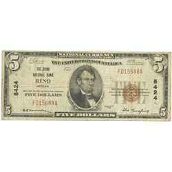 Reno, NV, 1929, $5 Ty. 1, The Reno National Bank, Reno, Ch# 8424, Fr#1800-1.