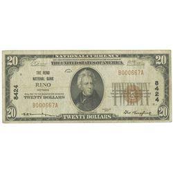 Reno, NV, 1929, $20 Ty. 1, The Reno National Bank, Reno, Ch# 8424.
