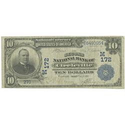 Circleville, Ohio. 1902 DB, $10, Second National Bank of Circleville, Ch# M 172,