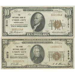 Pennsylvania, National Bank of Union City, $10 and $20, Series of 1929, T1, Ch#5131, Jones | Woods S