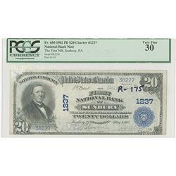 Sunbury, Pennsylvania, First National Bank of Sunbury, $20, Series of 1920 PB, Ch#1237, Lyons | Robe