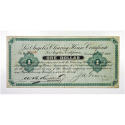 CA. Los Angeles Clearing House 1 Dollar 1907 Deposit Certificate F-VF