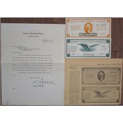 Newark Clearing House Certificate Unreleased 1933 Banknote Pair with Documentation