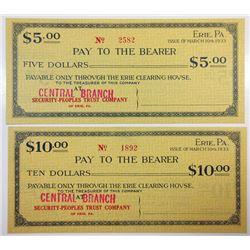 Erie, PA $5 & $10 Security-Peoples Trust Co. 1933 Depression Scrip Pair UNC