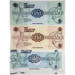 American Numismatic Association, ABNC Collector Currency Trio ca.1980-90 Error or Printer's Waste