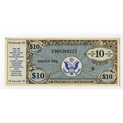 U.S. Military Payment Certificate, ND (1948) Series 472, $10 Issued Banknote.