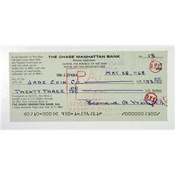 Chase Manhattan Bank - Saigon Branch 1968 Viet Nam War Era Serviceman's Check
